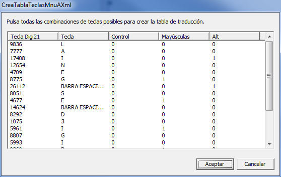Captura de pantalla del programa CreaTablaTeclasMnuAXml