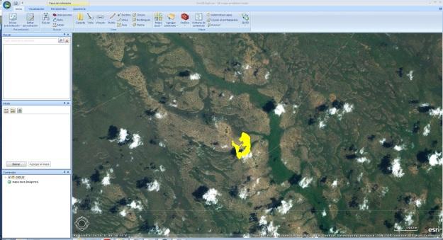 Captura de pantalla de ArcGIS Explorer mostrando el modelo de bronchales con los ejes cambiados y en Kenia