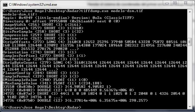 TIFFDump mostrando la cabecera de un archivo MDS obtenido mediante un radar.
