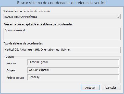 Digi3D mostrando sistema vertical EGM08_REDNAP Península